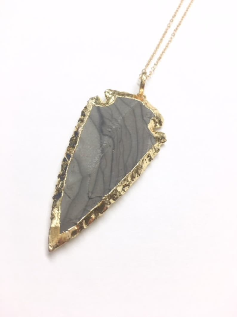 Gold Electroplated Crystal Healing Necklace Raw Jasper Arrowhead Necklace