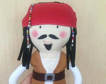 Jack Sparrow Inspired Doll, Pirates of the Caribbean, Pirate, Plush Doll, Cloth Doll, Baby Doll, Handmade Doll, Ragdoll, Plush, Plushie