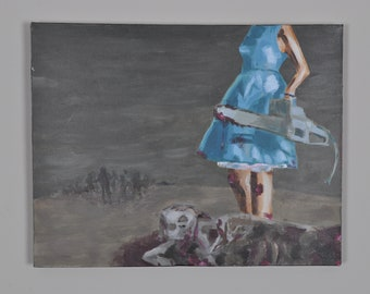 11x14 Small acrylic painting - Brown gray blue red zombie painting