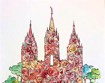 11x14 Custom Floral Temple