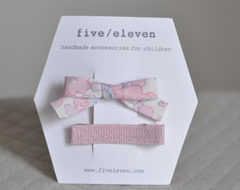 Betsy pale pink + dragée hair clips. Liberty of london and japanese ribbon bows for girls.