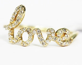 14k Love Band, Love Ring, Love Diamond Band SOLID 14K YELLOW GOLD .25 ct. Natural White Diamonds