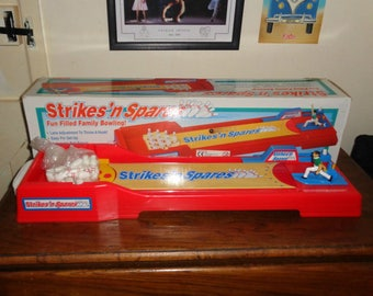 """Strikes N Spares Ten Pin Bowling Collectable Hilco Game 1997 Table Top Vintage Inc. Pins Ball 24"""" Long Fun Filled Family Bowling Sport"""