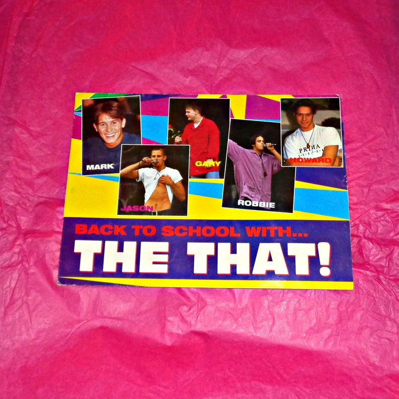Rare Take That Document Wallet Music Memorabilia British Boyband Collectable Vintage All Five Members Back To School With.. TT Robbie Mark