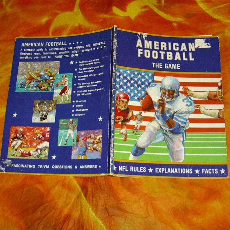 American Football The Game Vintage Book NFL American Sport Memorabilia  Paperback Collectable Illustrations Drawings Facts Diagrams USA Sport