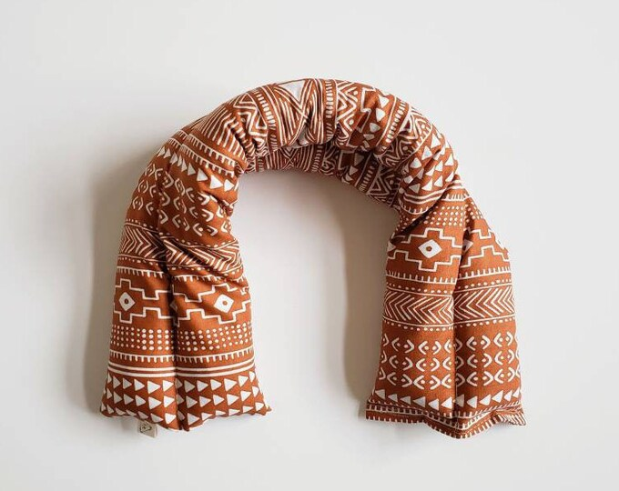 Boho Wrap | Heat Cold Therapy Neck Wrap | Sore Muscle Relief | Flaxseed | 100% Cotton
