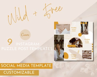 Wild+Free Puzzle Instagram Template / Essential Oil Social Media Pack / Young Living Branding / Do Terra Branding / Essential Oil Branding