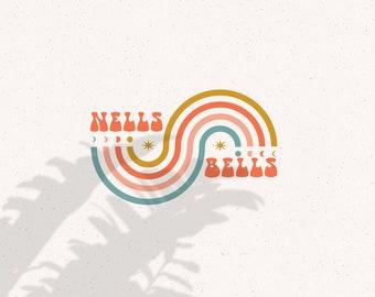 Nells Premade Logo / Stamp Logo / Premade Logo / Retro Logo / Boho Logo / Modern Logo / Neutral Logo / Script Logo / Social Media Logo