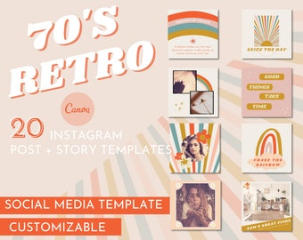 70s Retro Instagram Template / Retro Instagram Post Template / Bright Instagram Template Kit / Customizable Instagram Templates