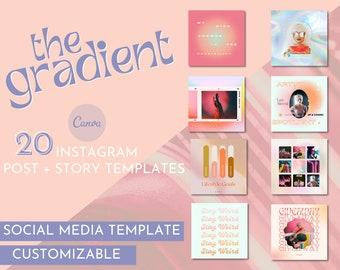 Gradient Retro Instagram Template / Retro Instagram Post Template / Bright Instagram Template Kit / Customizable Instagram Templates