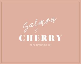 Salmon + Cherry Boho Branding Kit/ Premade Branding Kit / Brand Identity Kit / Color Palette / Mini Brand Board / Mood Board