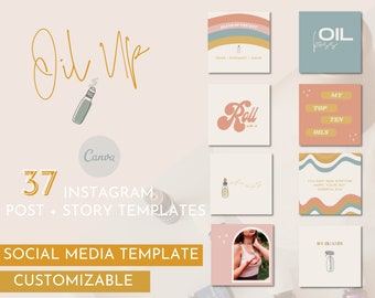 Oil Up Instagram Template / Essential Oil Social Media Pack / Young Living Branding / Do Terra Branding / Essential Oil Branding
