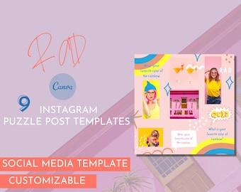 RAD Puzzle Instagram Template /Canva Instagram Puzzle Feed Template / Social Media Templates / Instagram Templates / Instagram Marketing