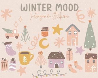 Winter Mood Instagram Story Stickers / Halloween Social Media / Halloween Icons / Social Media Stickers / Watercolor Halloween