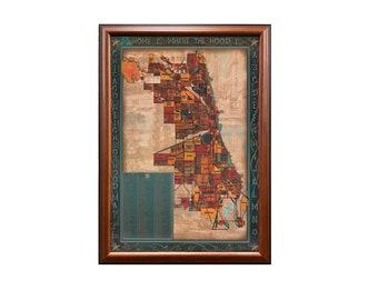 Framed Chicago Hood Map