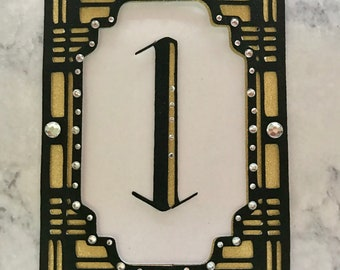 Set of 12 Art Deco Table Numbers