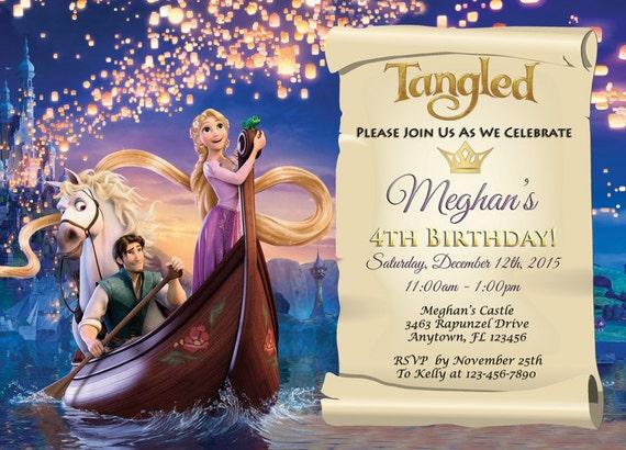 Tangled Invitation Tangled Party Invites 5x7 Or 4x6 Custom Etsy