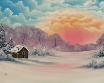 Colorful Winter Oil Landscape Painting With Cabin