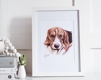 Pet Portrait // Original Framed Pet Portrait // Custom Pet Portrait // Personalized Pet portrait