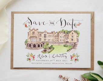 Save the Date Cards // Custom Illustrated Venue Save the Dates
