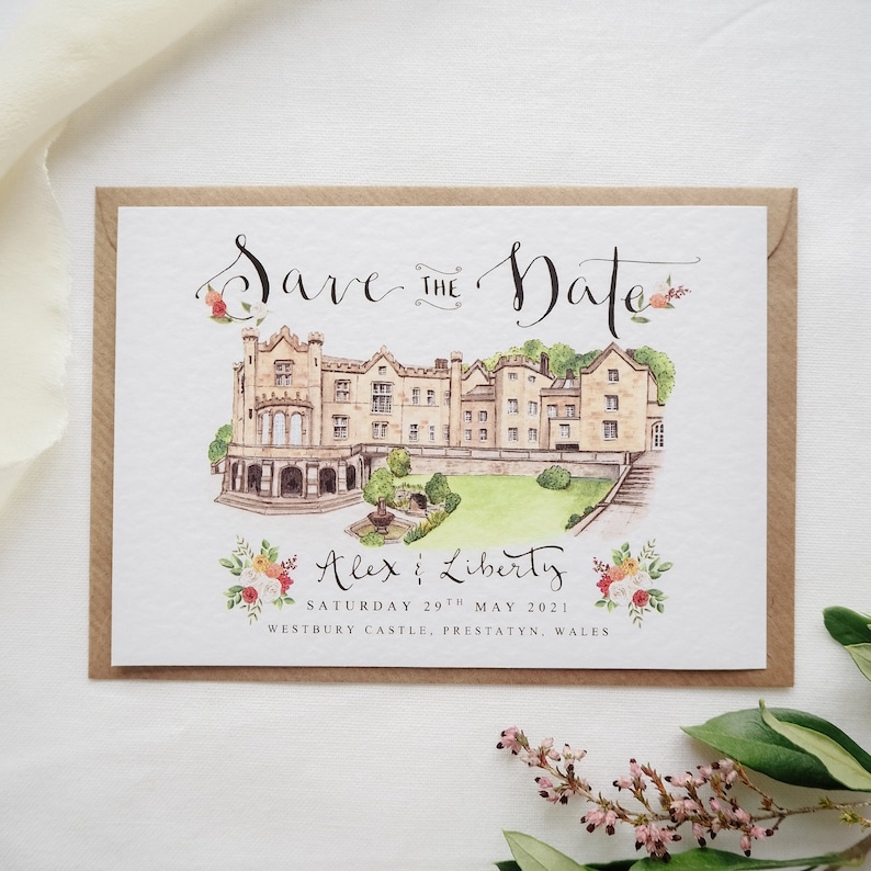 Save the Date Cards // Custom Illustrated Venue Save the Dates image 0