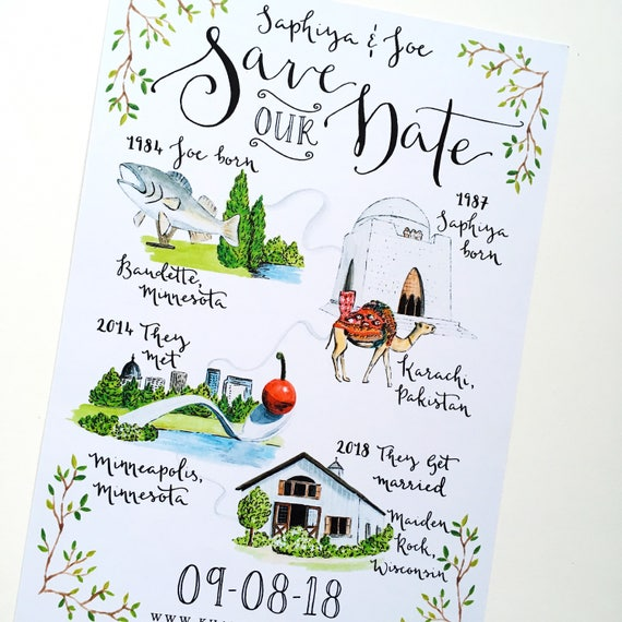 Illustrated Story Save The Date Wedding Invitations