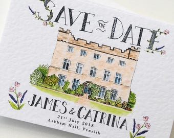 Custom Illustrated Save the Date Cards