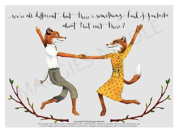 Fantastic Mr Fox Print Mr And Mrs Fox Quote Etsy