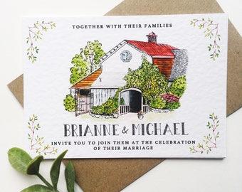 Custom Illustrated Venue Wedding invitations