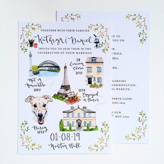 Illustrated Story Wedding Invitations // Custom