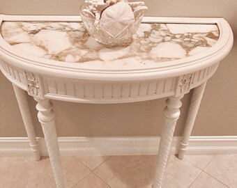 SOLD~Antique French Marble Top Demilune Table