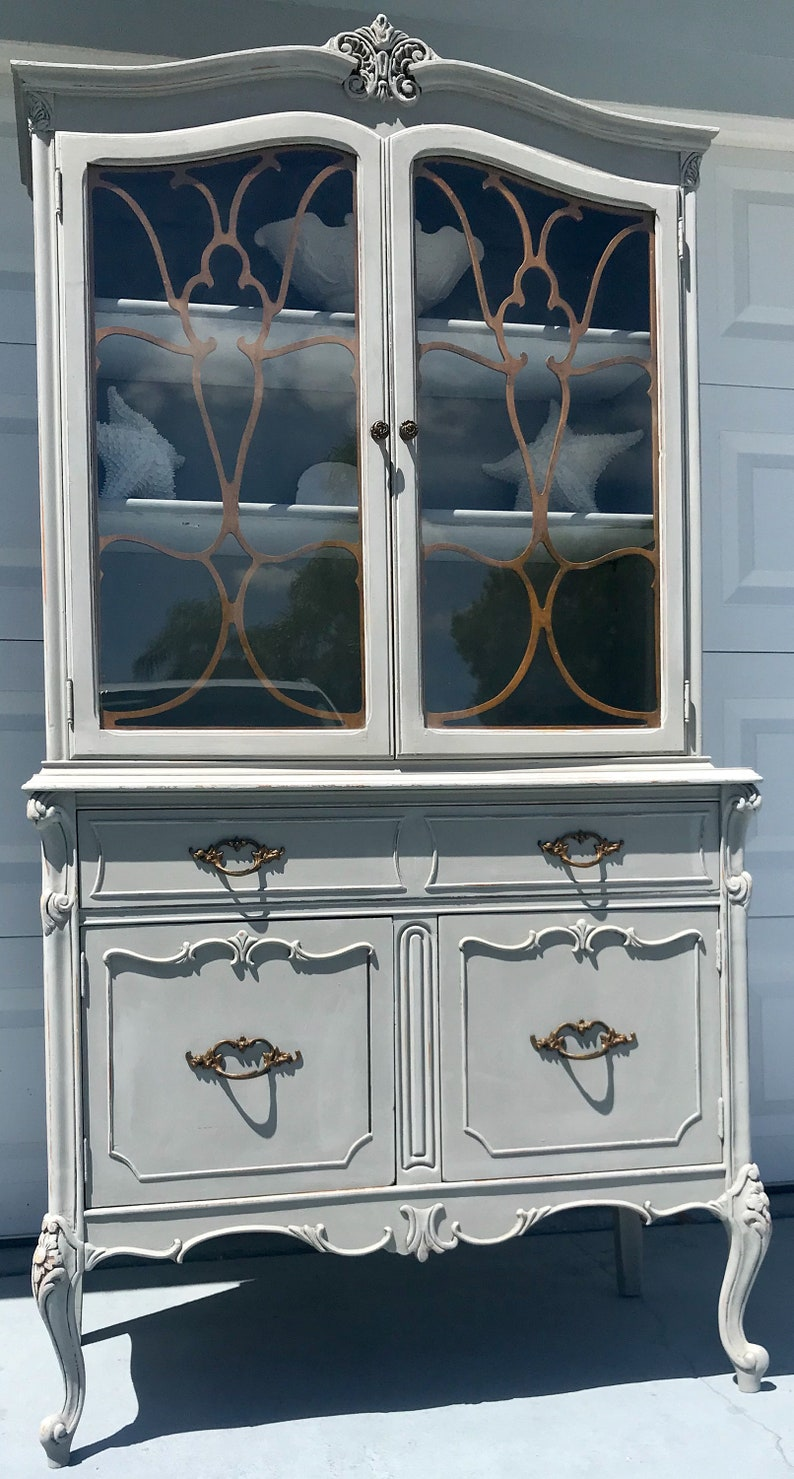 Sold Antique French China Cabinet Hutch Bookcase