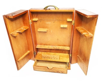 Vintage Mid Century Wood Portable Smokeru0027s Pipe Cabinet / Case / Shelf,  Hand Made In The 1940s With Dove Tail Corners