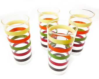 Vintage set of 4 retro high ball glasses with colorful stripes