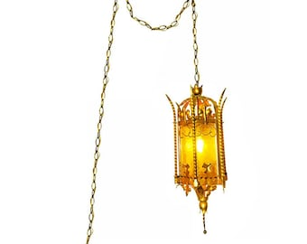 Vintage midcentury Hollywood Regency swag light, gold brass and stained glass.