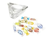 Vintage mid century 14 piece set of hand blown Murano art glass wrapped candy in a stunning angular crystal bowl
