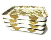 Vintage set of four Japanese hand painted quot Gold Imari quot porcelain rectangular plates