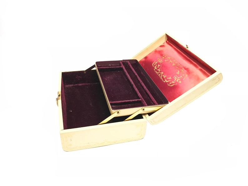 Victorian Couple Jewelry Box Fashioned by Farrington Made in the USA Mid Century Pink Jewelry Box