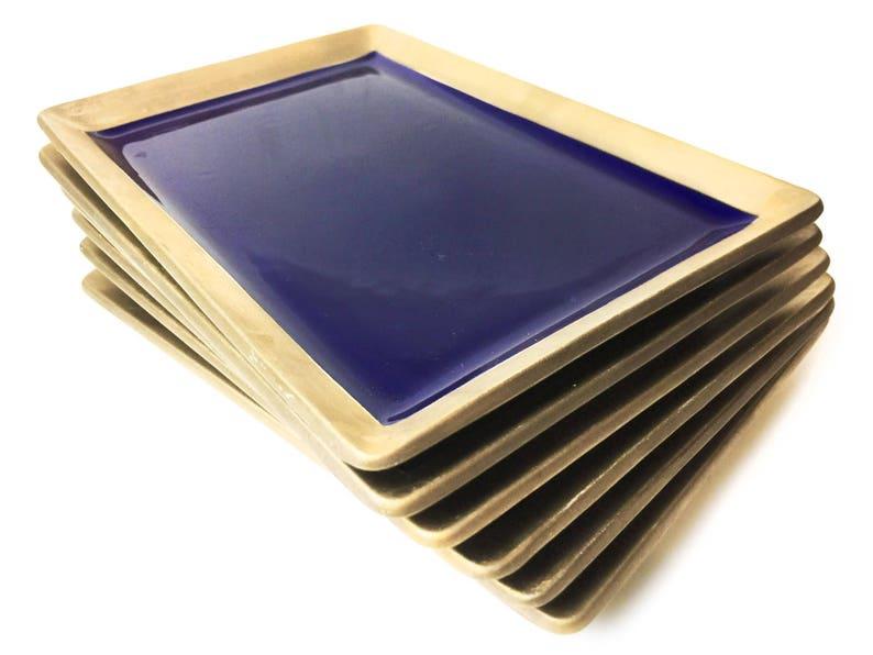 Vintage midcentury set of 6 authentic Japanese large and heavy hand made ceramic sushi plates.