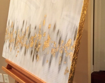 Gold Leaf Painting, Gold and Silver Leaf, Grey, Bronze Metallic Abstract Painting with Resin Coat