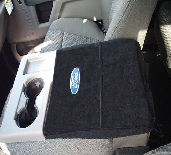 Match Photo Shown-Black Car Console Covers Plus Custom Fits Ford F150 F250 Bench Seat Models 2014-2019 Fleece Cover to Slip Over Entire Center Armrest Console