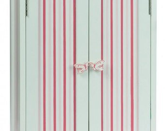"""Doll Armoire with Pink Stripes, Furniture Fits 18"""" Girl Dolls"""