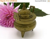 SALE Chinese Brass Incense Burner, Chinese Censer Footed Hallmarked Calligraphy Hand Crafted Footed Early 1910s - 1920s