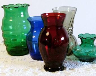 Transparent Red Glass Vase, Anchor Hocking Ruby Red Glass Vase, Valentines Day Decor, Holiday Decor