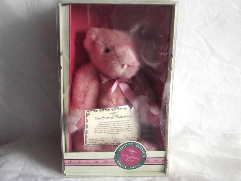 New in Box Stuffed Teddy Bear 1994 Pink Mary Meyer Bear Boxed Pink Collector Bear