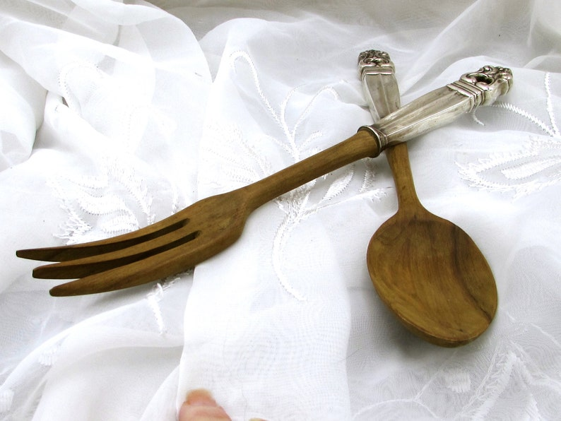 Royal Danish Pattern by Intl Silver Salad Servers Large Sterling and Wood Salad Serving Set Sterling Handle Fork and Spoon