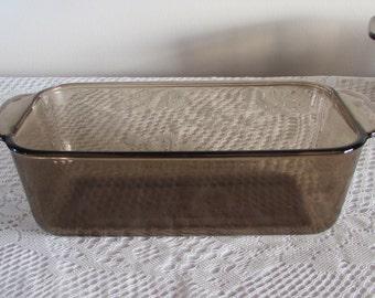 "Pyrex Brown Glass Loaf Pan No. 213-R, 8.5 X 4.5"" Smoke Colored Bread Pan, Brown Glass Cookware, Pyrex Corning Bakeware"