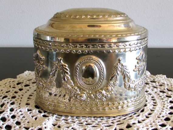Mens Silver Toned Jewelry Box, Heavy Silver Toned