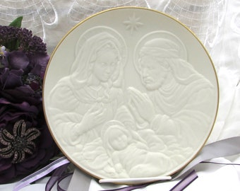 Lenox Holy Family Nativity Vignettes Collector's Plate, Vintage 1993 Bisque Porcelain Christmas Decorator Plate