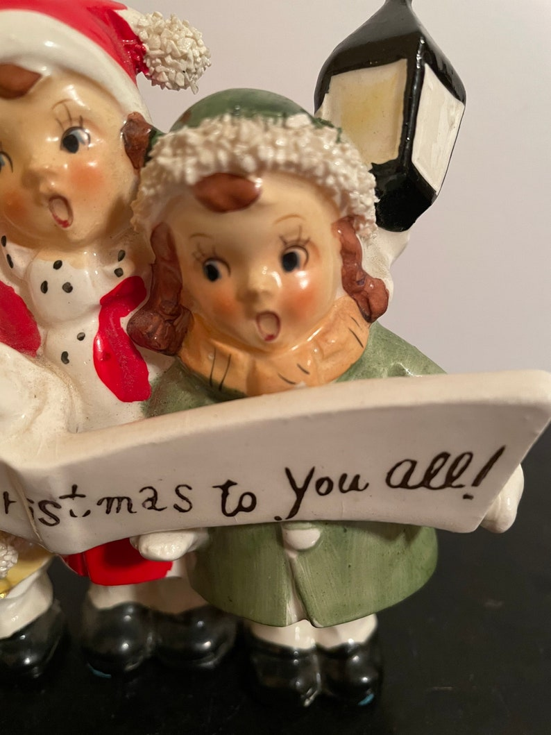 Vintage Thames Girl Carolers Figurine A Merry Christmas To You All Banner